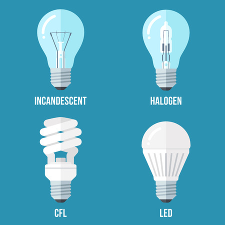incandescent: Vector illustration of main electric lighting types: incandescent light bulb, halogen lamp, cfl and led lamp. Flat style.