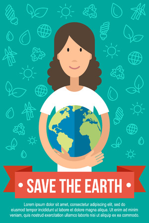 Vector template for ecology poster. Save the Earth concept. Happy young woman is hugging the Earth. Flat style.