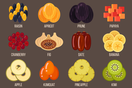 Vector set of dried fruits. Flat style. 일러스트
