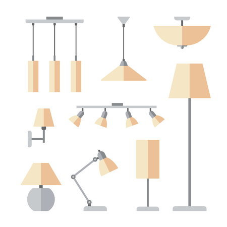 Vector set of different types of indoor lighting: pendant, ceiling light, spotlight, wall light, table shade lamps, reading lamp and floor lamp. Flat style.