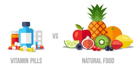 Vector illustration of vitamin pills vs. natural food. Healthy eating concept. Flat style.