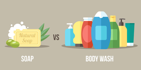 Vector illustration of natural soap vs. chemical body wash. Healthy and natural body care concept. Flat style. 일러스트