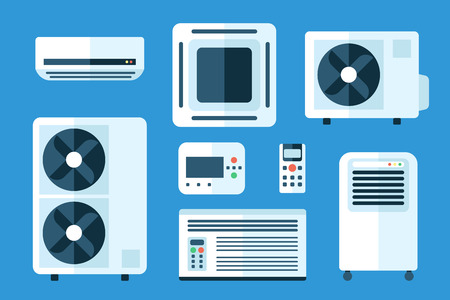 Vector Illustration set of different air conditioners, indoor and outdoor units. Flat style.