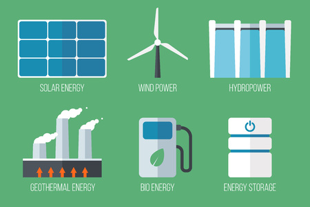 Set of renewable energy icons. Flat style.