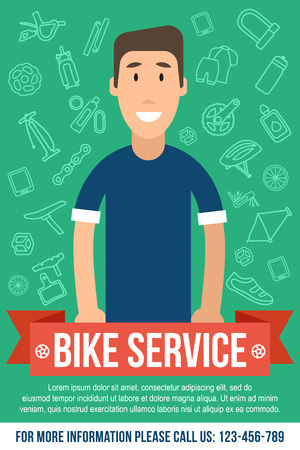 Vector template for bicycle service poster. Happy repairman in the middle. Flat style.