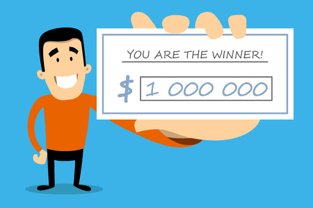 Vector illustration of lottery winner. Happy man with lucky ticket in a hand.