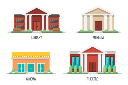 Vector illustration of different types of cultural buildings: library, museum, cinema, theatre. Isolated on white background. Flat design style. Eps 10. 일러스트