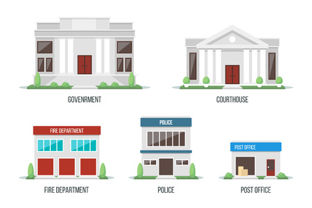 Vector illustration of different city buildings: government, courthouse, fire department, police, post office. Isolated on white background. Flat design style. Eps 10.