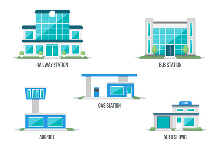 Vector illustration of different types of transport related buildings: railway station, bus station, airport, gas station, auto service. Isolated on white background. Flat design style. Eps 10. 일러스트