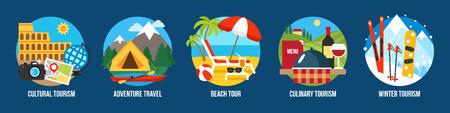Vector Reihe von Illustrationen für verschiedene Arten von Tourismus. Flacher Stil.