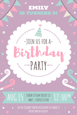Vector invitation card for kids birthday party. Modern pastel colors. Flat style. 일러스트