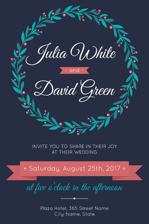 Vector wedding invitation template. Modern design and colors.