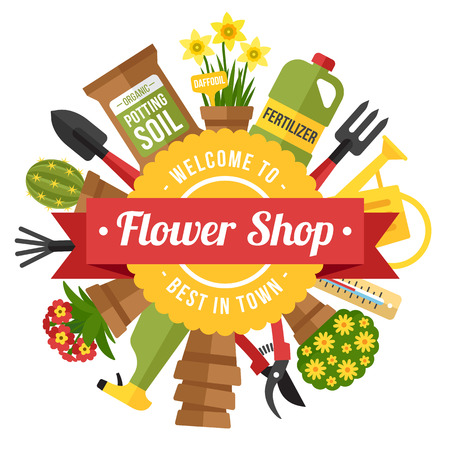 Colorful vector poster template for a flower and gardening shop. Flat style. 일러스트