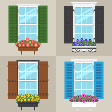 Vector set of windows with different types of shutters and flowers. Flat style. 일러스트