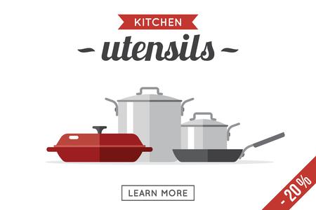 Vector kitchen utensils illustration. Banner template. Flat style.