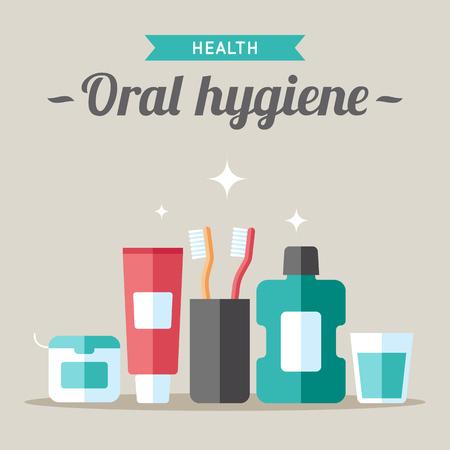 Vector oral hygiene illustration. Flat style. 일러스트