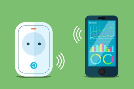 スマート パワー ソケット図、電話アプリのフラット スタイルへのワイヤレス接続。  イラスト・ベクター素材