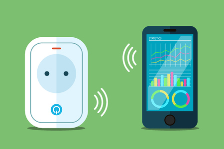 Smart power socket illustration, wireless connection to a phone app. Flat style.