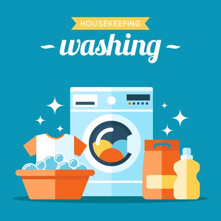 Vector laundry washing illustration. Flat style.