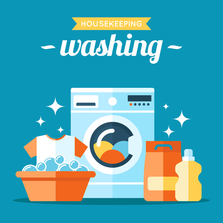 Vector laundry washing illustration. Flat style. Reklamní fotografie - 84629625