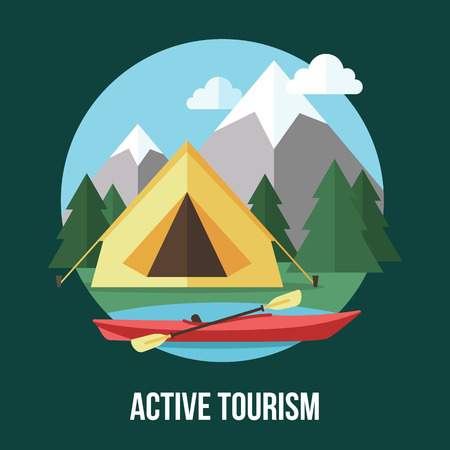 Vector active tourism illustration. Flat style.