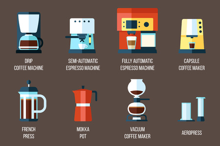 Set of various coffee makers. Ilustrace