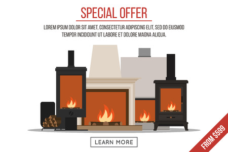 Fireplaces sale, banner or advertisement template.