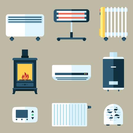 Set of various heating appliances.