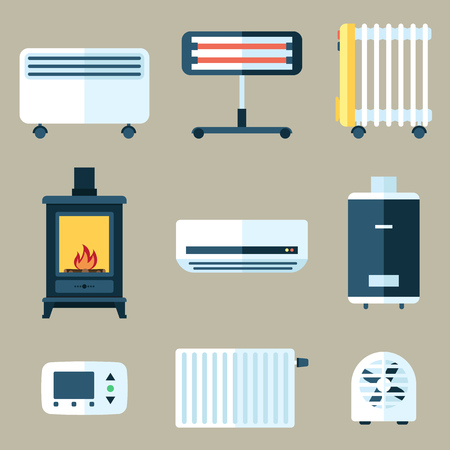 Set of various heating appliances.