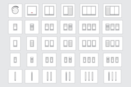 Collection of different light switch types.