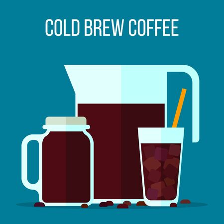 Cold brew coffee illustration. Vector set of pitcher, jar and glass filled with cooled coffee. Flat style.