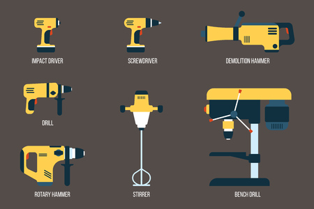 Vector set of power tools for drilling, screwing and mixing purposes. Electric equipment for construction. Flat style.
