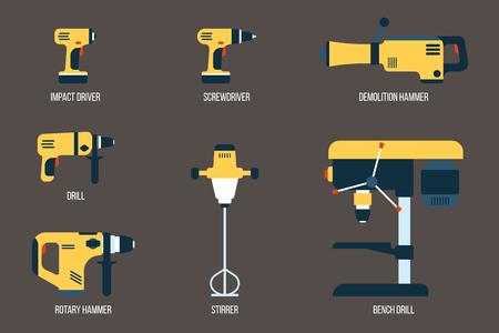 Ensemble vectoriel d'outils électriques pour le forage, le vissage et le mélange. Matériel électrique pour la construction. Style plat. Vecteurs