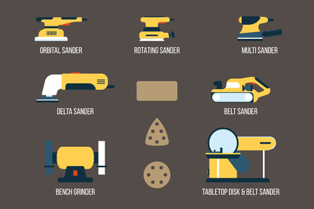 Vector set of power tools for sanding, grinding and deburring. Electric equipment for finishing purposes. Flat style.