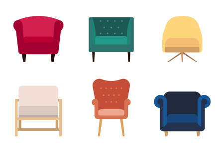 Vector set of various armchairs, different colors and designs. Flat style. 일러스트