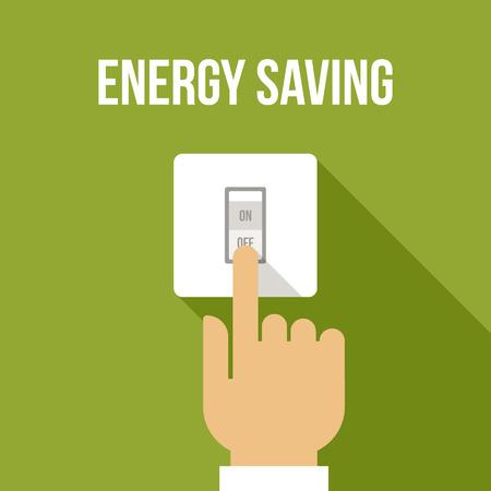 Vector Konzept der Energieeinsparung. Flachen Stil. Standard-Bild - 86412080