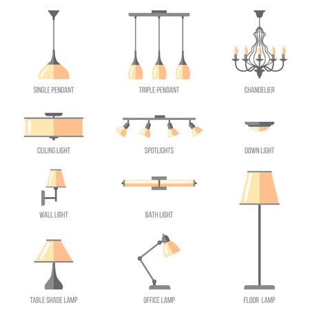 名前付きの屋内照明の種類のベクトルを設定します。フラット スタイル。  イラスト・ベクター素材