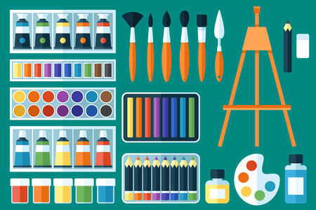 Vector set of painting tools. Fine arts. Flat style.