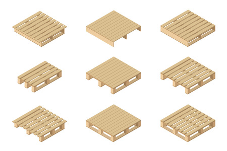 Vector isometric set of different wooden pallets. Isolated on white background. Flat style. Vettoriali