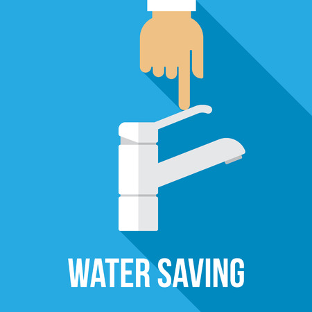 Vector concept of water saving. Flat style. Vettoriali