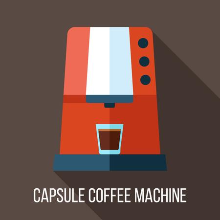 ベクター カプセル コーヒー マシンのイラスト。フラット スタイル。