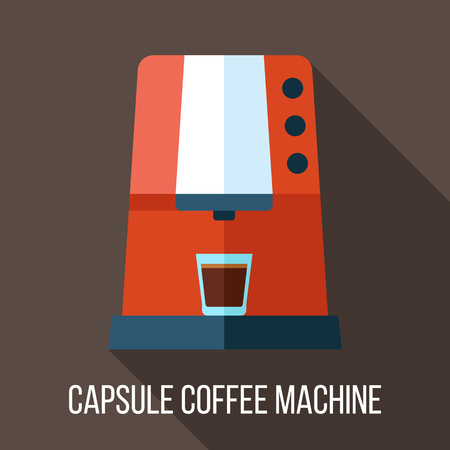 Vector capsule coffee machine illustration. Flat style.