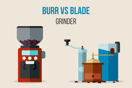 Vector illustration of burr vs. blade coffee grinders. Different grind technologies comparison. Flat style.
