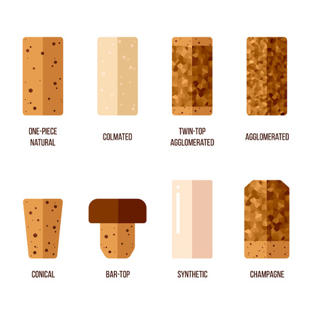 Vector cork stoppers, different types and production technologies. Flat style. Vettoriali