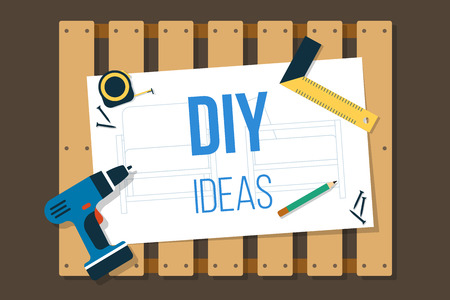 Vector DIY banner, wooden pallet with tools and scheme on it. Flat style.