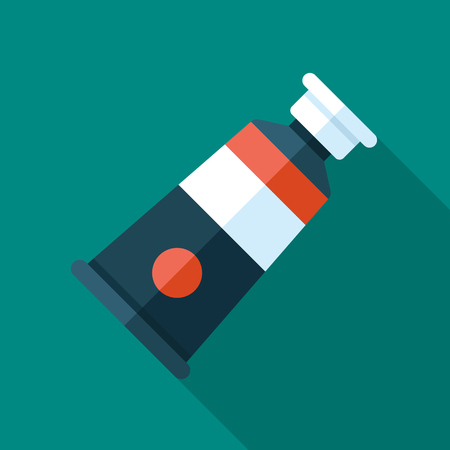 Vector icon of oil paint tube. Flat style with long shadow. Illustration