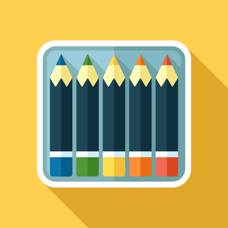 Vector icon of color pencils in a box. Flat style with long shadow.