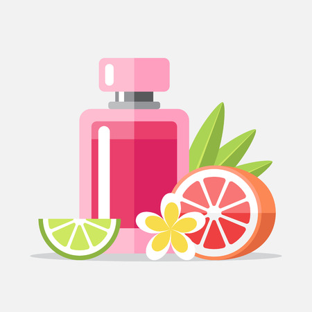 Vector illustration of perfume with aromatic components. Flat style.