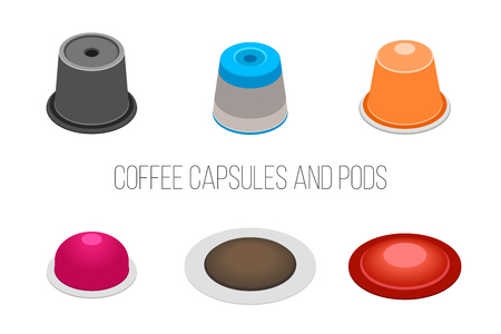 Vector set of coffee capsules and pods. Isometric illustration on white background.