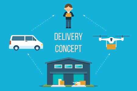 Vector delivery concept. Electric van and drone shipping from warehouse to client. Flat style.